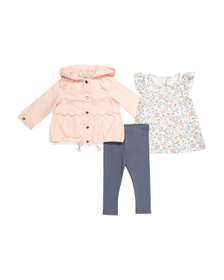ASPEN Infant Girls 3pc Scalloped Jacket Set