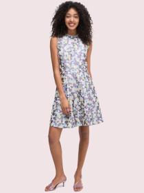 floral jacquard fit-and-flare dress