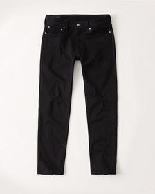 No-Fade Ripped Skinny Taper Jeans, RIPPED BLACK
