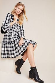 Anthropologie Amber Plaid Tiered Tunic