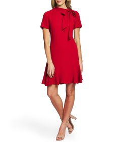 CeCe Short Sleeve Tie Neck A-Line Dress