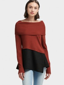 Donna Karan ASYMMETRICAL SWEATER WITH FAUX SUEDE P