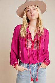 Anthropologie Lissa Embroidered Peasant Blouse