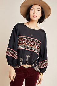 Anthropologie Nina Embroidered Blouse
