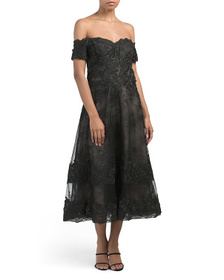 TERI JON Off Shoulder Lace And Contrast Lining Coc