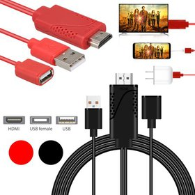 3-in-1 USB to HDMI Cable, TSV Cell Phone to HDMI A