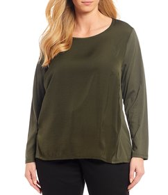 MICHAEL Michael Kors Plus Size Long Sleeve Hi-Low