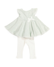 CATHERINE MALANDRINO Newborn Embroidered Tunic & L