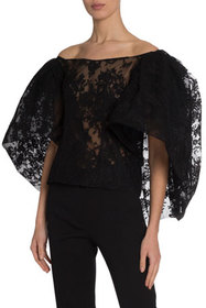 Givenchy Lace Puffy Cape-Sleeve Blouse