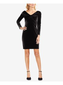 VINCE CAMUTO Womens Black Velvet Twist Long Sleeve