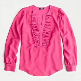 J. Crew Long-sleeve ruffle-front top in satin crep