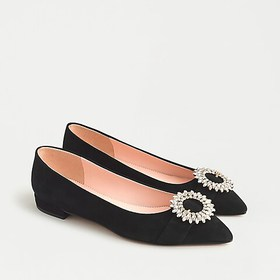 J. Crew Pointed-toe flats in suede with crystal bu
