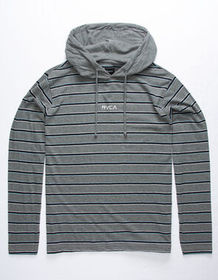 RVCA Desmond Stripe Gray Mens Lightweight Hoodie_