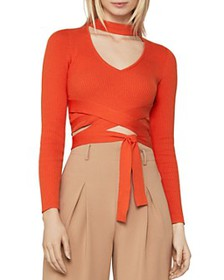 BCBGMAXAZRIA - Cropped Wrap-Waist Sweater
