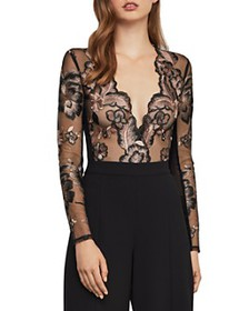 BCBGMAXAZRIA - Sheer Embroidered Mesh Bodysuit