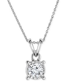 "Diamond Pendant 18"" Necklace (1/2 ct. t.w.) in 14k"