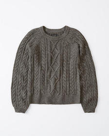 Cable Crew Sweater, DARK GREY