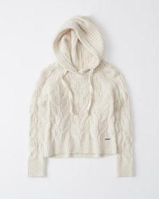 Cable Knit Hoodie, CREAM