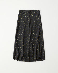 Satin Midi Skirt, BLACK PATTERN