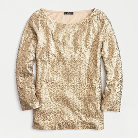 J. Crew Sequined three-quarter-sleeve boatneck top