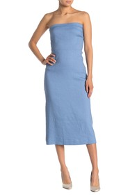 Theory Stripe Linen Blend Strapless Dress