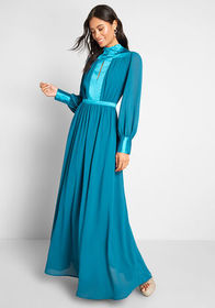 ModCloth Allure Me With Details Maxi Dress Teal