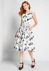 ModCloth ModCloth Fabulous Fit and Flare Dress Whi