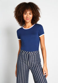 ModCloth ModCloth Liking Your Piping Ringer Tee in