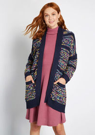 Talk About Texture Long Cardigan Navy Multi