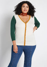 ModCloth Charter School Colorblocked Cardigan in W