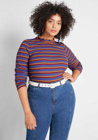 ModCloth ModCloth Admired Archivist Knit Top Blue