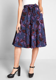 ModCloth ModCloth On My Way A-Line Skirt in Blue F