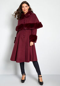 Hell Bunny Fine and Fancy Caped Coat Burgundy