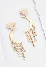 Over the Moon Drop Earrings Gold