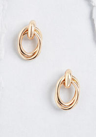 Linked and Lively Stud Earrings in Gold