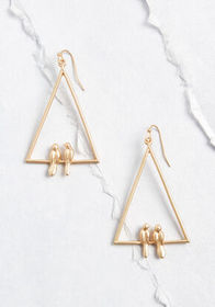 Birds of a Feather Dangle Earrings Gold