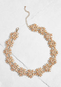 A Floral Invitation Statement Necklace Gold
