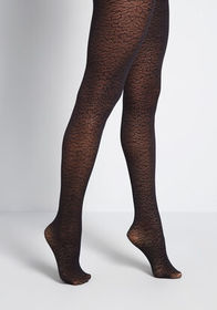 Sheer She Is! Floral Tights Black