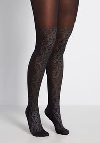 An Ornate Date Sparkle Tights Black