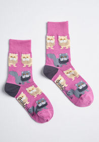 Here and Meow Cat Socks Pink Cats