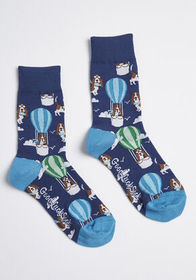 Pup and Away Socks Navy Basset Hounds