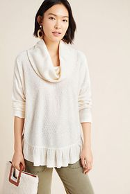 Anthropologie Addie Ruffled Hacci Pullover