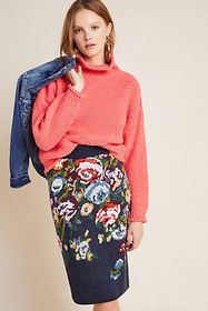 Anthropologie Skye Embroidered Knit Pencil Skirt