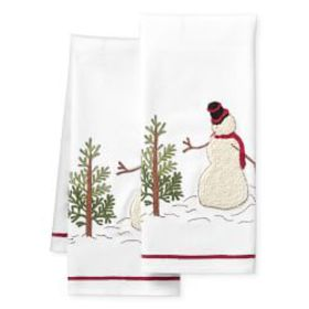 Snowman Embroidered Towels, Set of 2
