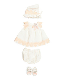 CATHERINE MALANDRINO Newborn Girls 4pc Embroidered