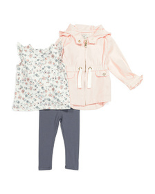 ASPEN Baby Girls 3pc Spring Twill Jacket Set