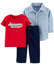 Baby Boys 3-Pc. Cotton Shirt, Awesome Little Guy T