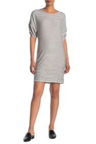 Max Studio Ruched Sleeve Stripe Dress