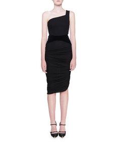 TOM FORD One-Shoulder Jersey Dress w/ Waist Cinche