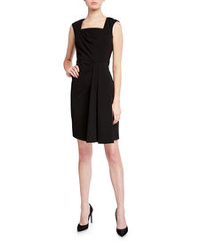 CALVIN KLEIN Square-Neck Ruched Sheath Dress